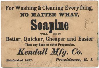 Soapine trade card (Kendall Mfg Co.) [back]