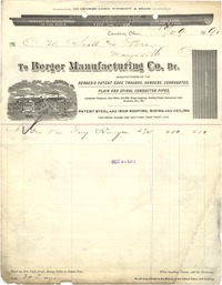 1890 invoice from Berger Mfg to O. M. Scott & Bro