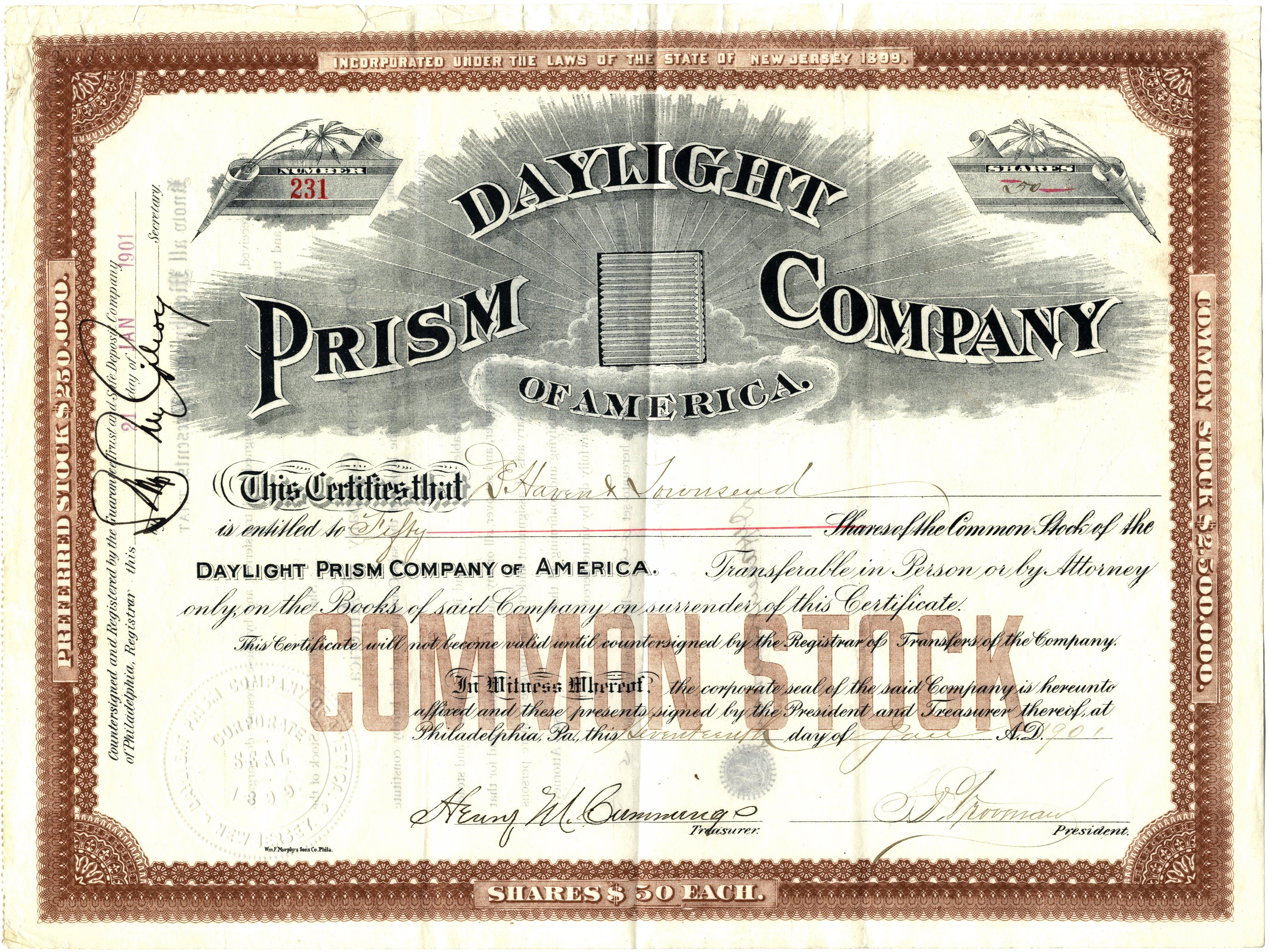Daylight Prism Company Stock Certificate Glassian