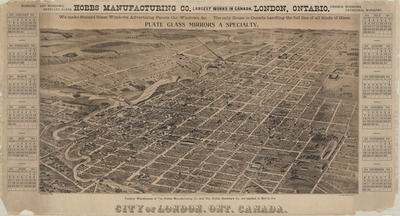 Bird's eye view lithograph of London, Ontario, 1890