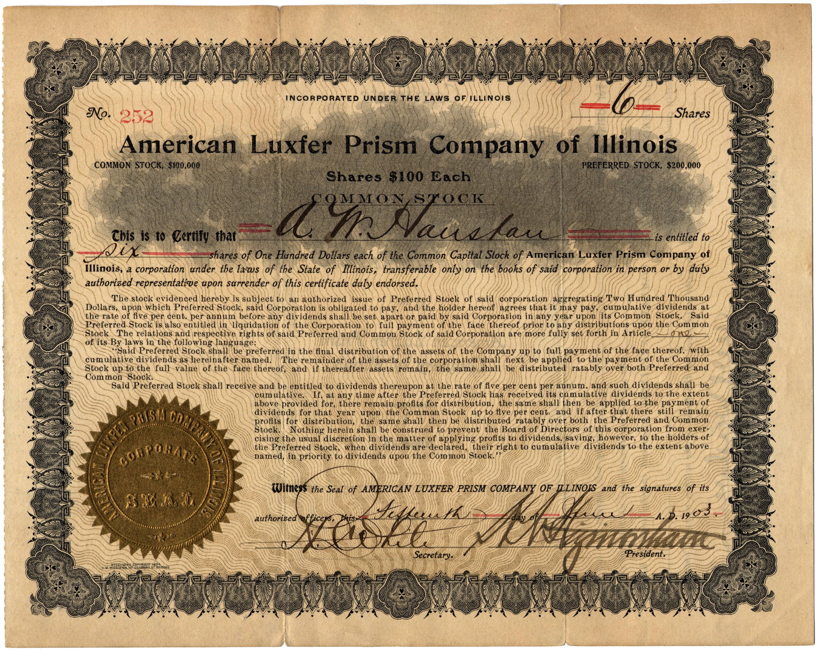 corporate stock certificate template